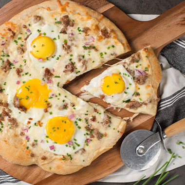 Breakfast Sausage and Queso Blanco Pizza